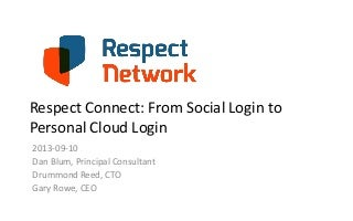 Respect Connect: From Social Login to Personal Cloud Login