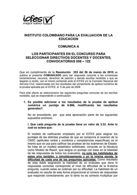Respuesta del icfes al derecho de peticion o reclamacion