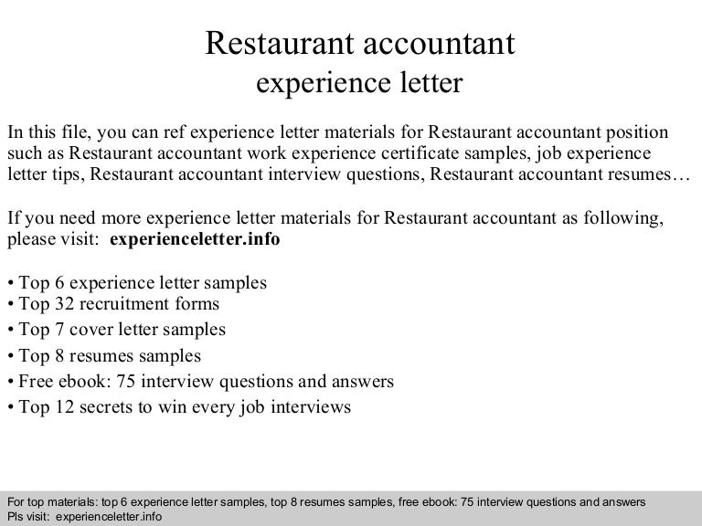 Experience certificate sample for chef choice image certificate restaurant accountant experience letter yadclub choice image yadclub Choice Image