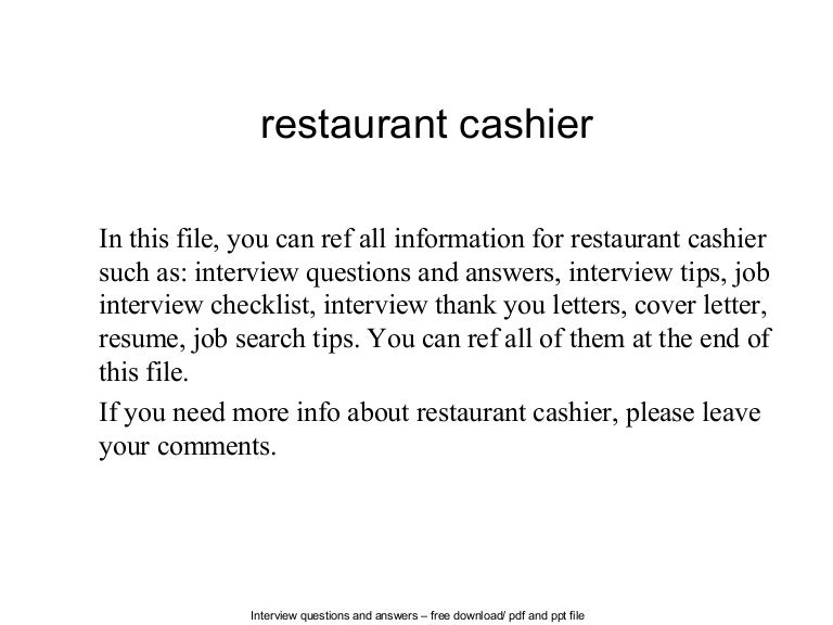 best restaurant cashier resume example livecareer. restaurant ...