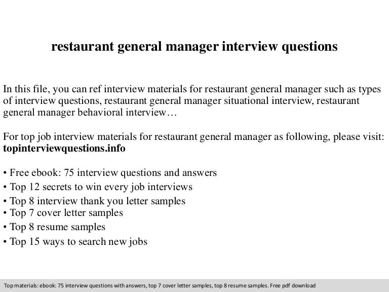 Restaurant general manager interview questions fandeluxe PDF
