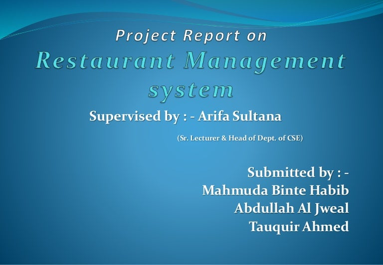 Restaurant management presentation
