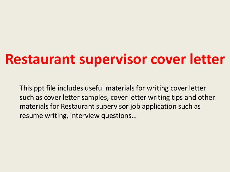 Restaurant Cover Letter Sample from cdn.slidesharecdn.com