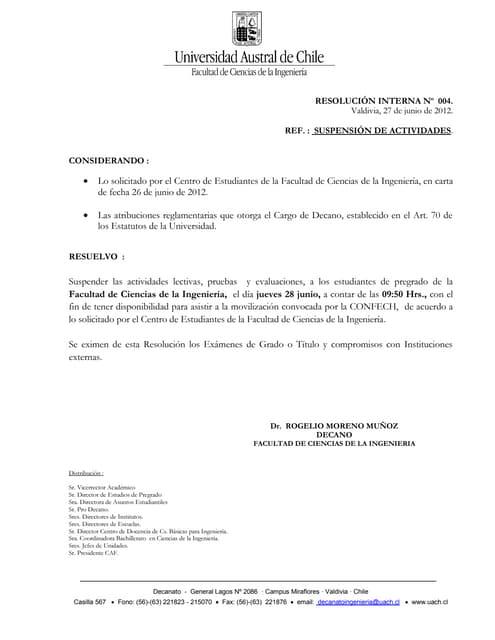Resuelvo nº 004 decanato. suspensión de clases. (1)