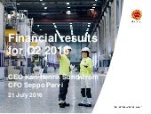 Financial results for Q2 2016