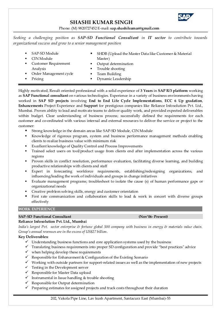 Sap Sd Resume Sample - Professional User Manual EBooks •