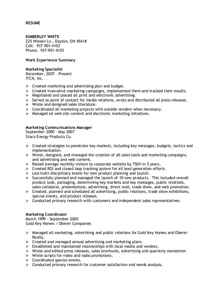 Marketing Communications Resume Samples. Advertising ...