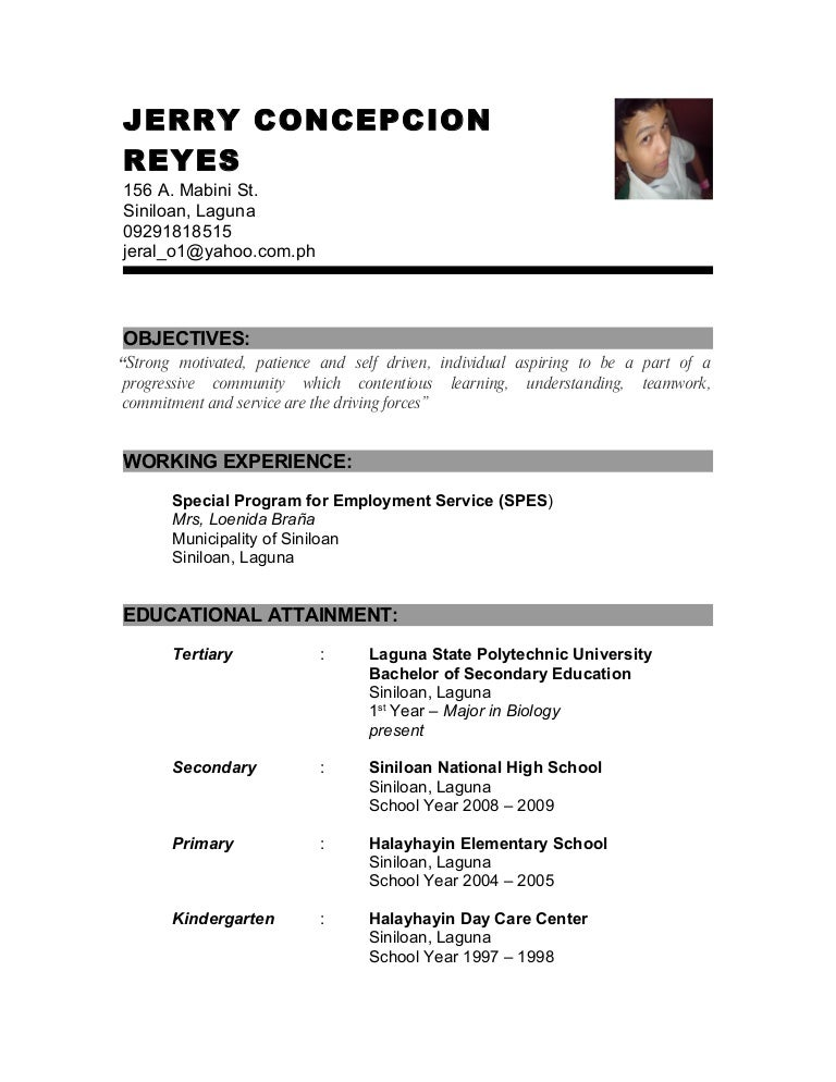 Example Of Resume For Fresh Graduate Information Technology Help