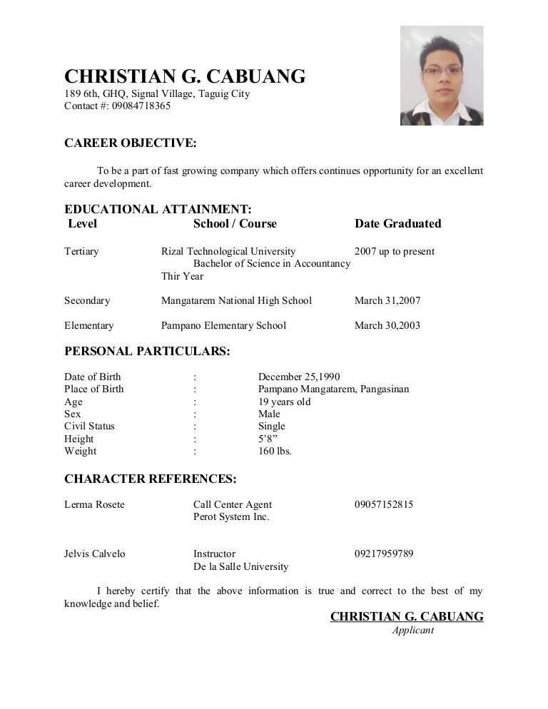 Sample Resume For Teacher In The Philippines - Template