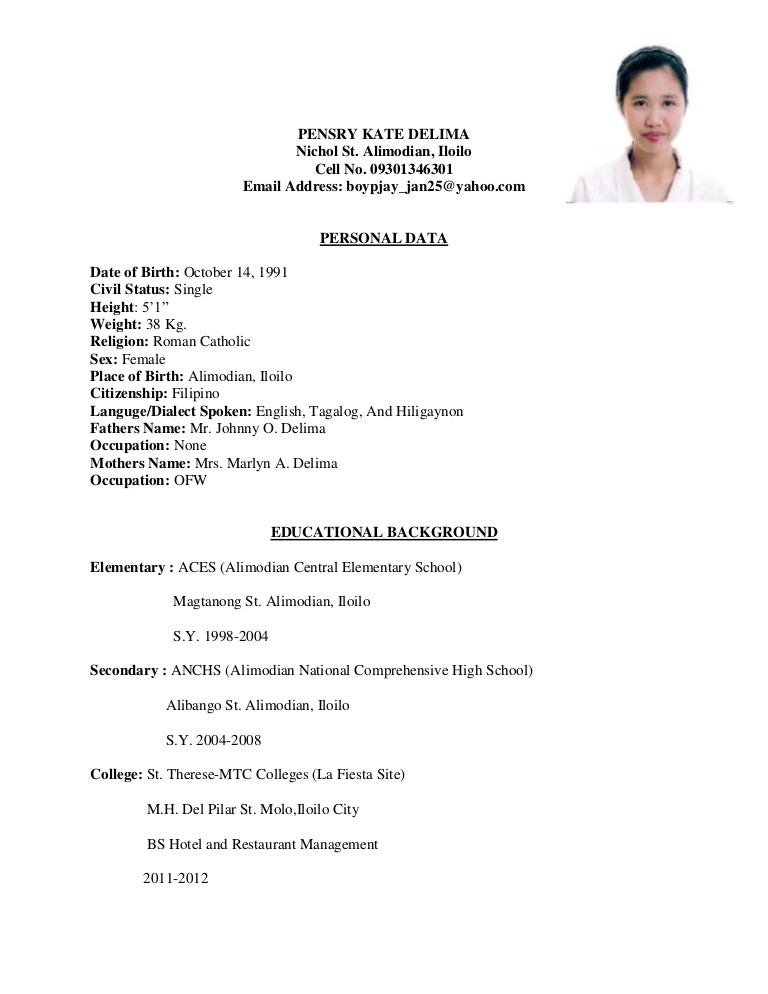 Sample Resume For Hotel Industry