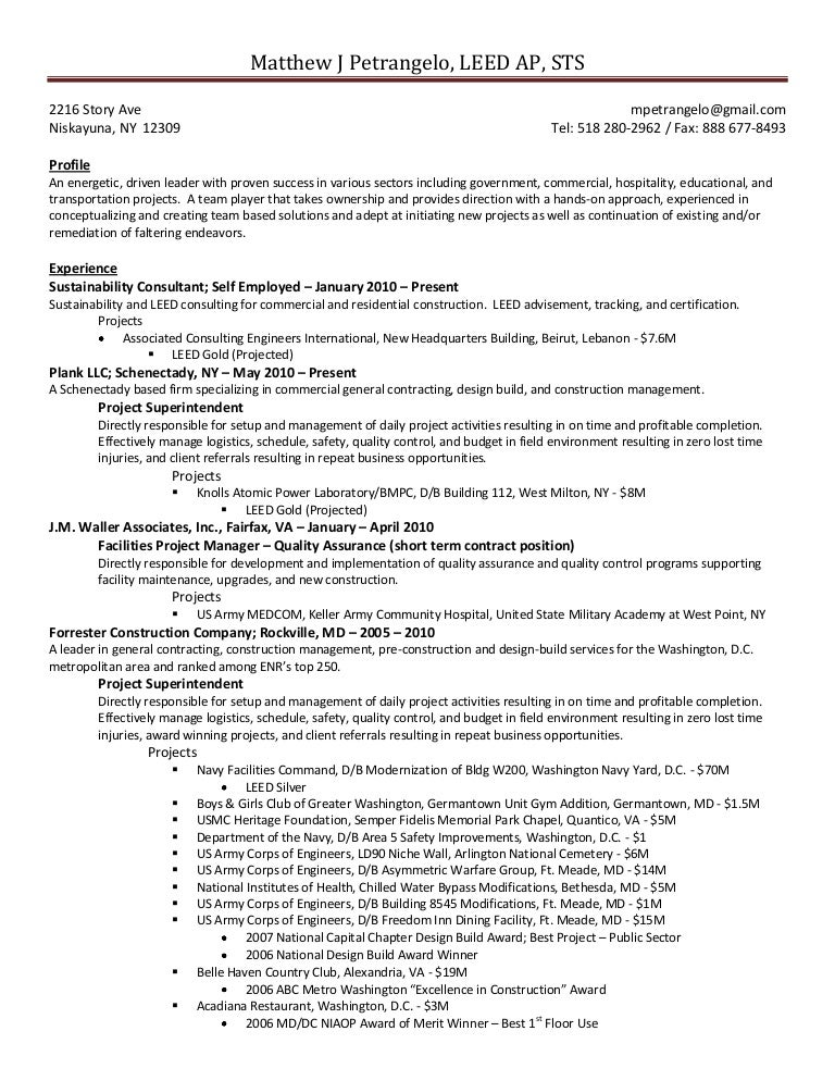 construction contractor resume