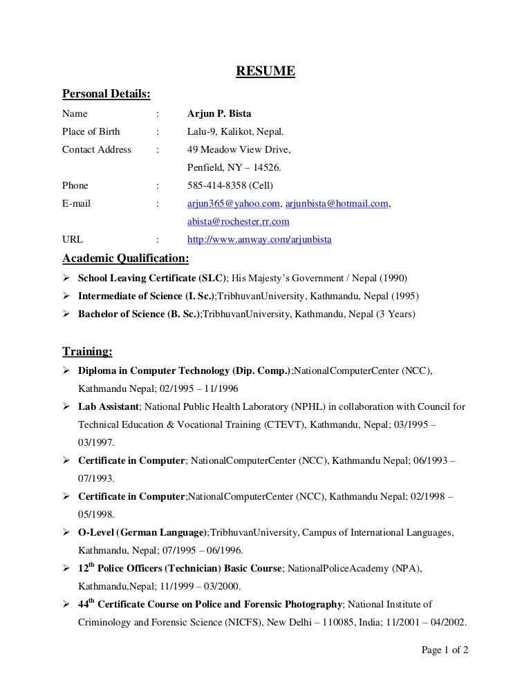 Criminology Resume Gallery Resume Format Examples 2018