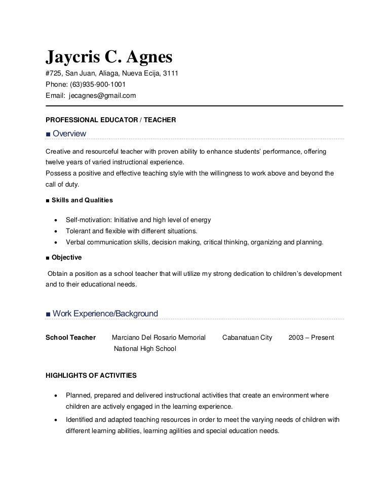 resume sample for teachers - Resume Sample For Teachers In Philippines