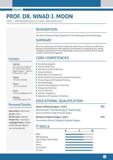 dentist sample resume