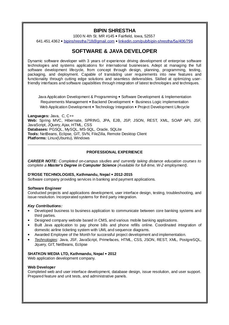 resume Java Spring Resume resume