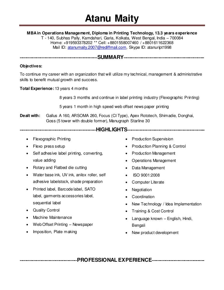 printing manager with 13 years experience