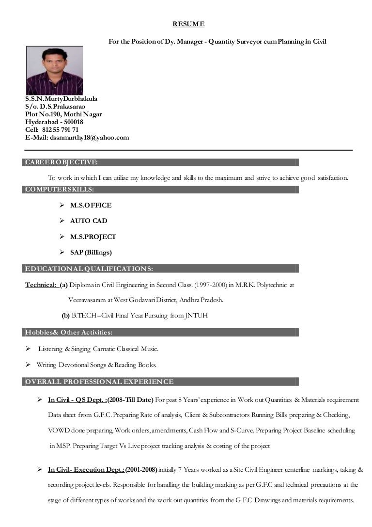 Land Surveyor Resume Examples Quantity Surveyor Resume Example