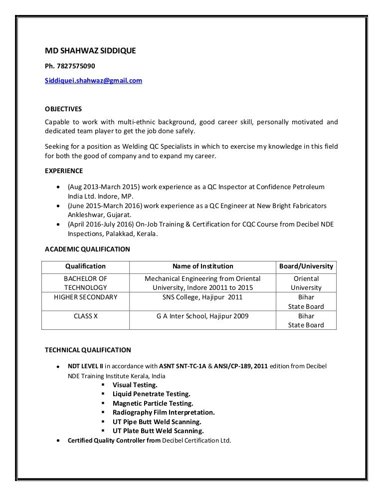 Welding Inspector Resume. Resume Qc Inspector Welding And Piping