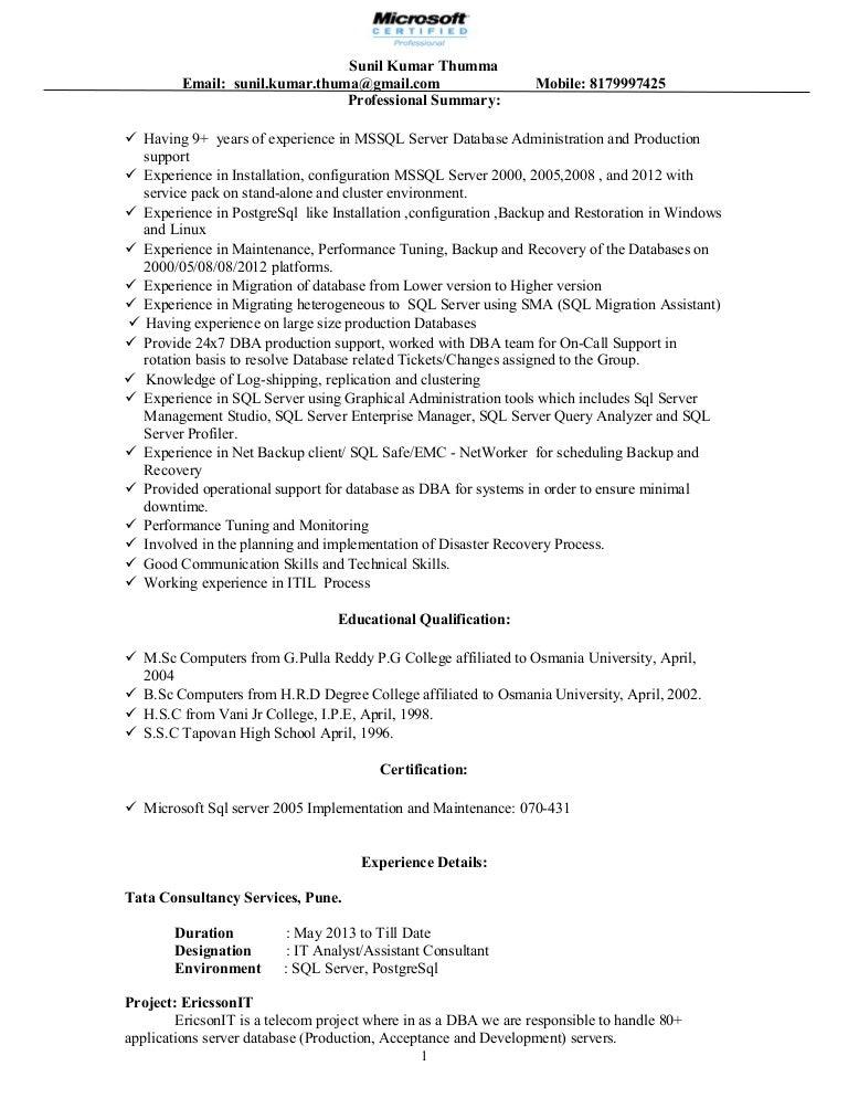 sql server dba with 9 years of exp and hands on postgresql - Sql Server Dba Resume