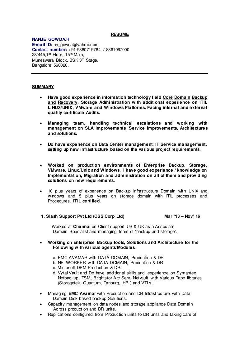 resumedoc lotus domino administrator sample resume - Storage Administration Sample Resume