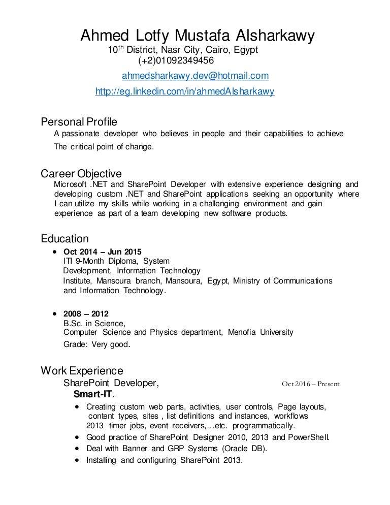 Nice Sharepoint Designer 2010 Resume Contemporary - Example Resume ...