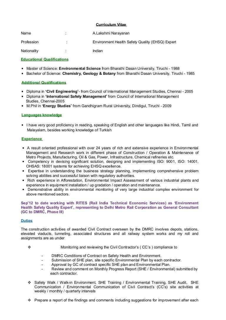 Resume a.lakshmi narayanan-ehsq expert