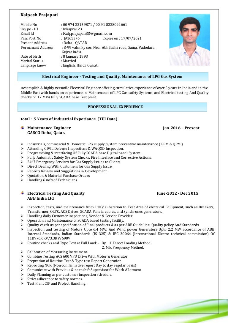 resume engineer electrical testing and quality lpg gas maintenance