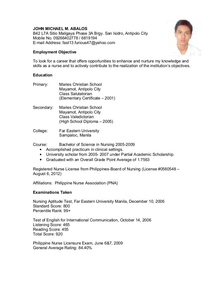 Resume Resume Sample For Nurses Without Experience Philippines Sample Resume  For Teachers Without Experience In The  High School Resume No Work Experience