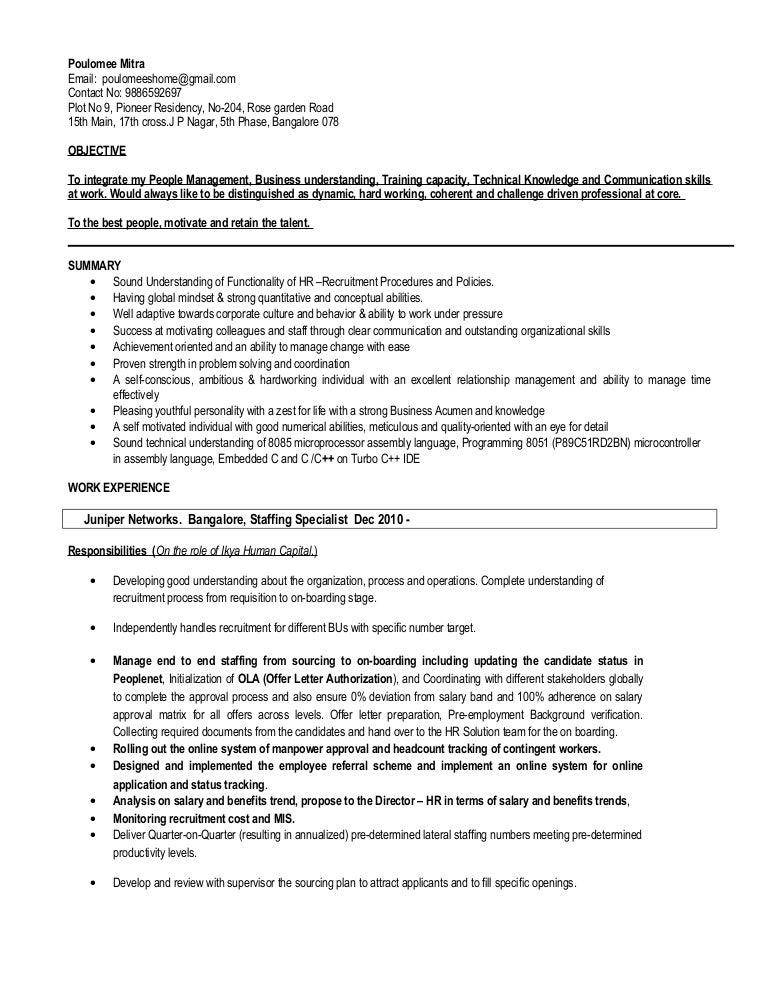 SlideShare  Staffing Specialist Resume