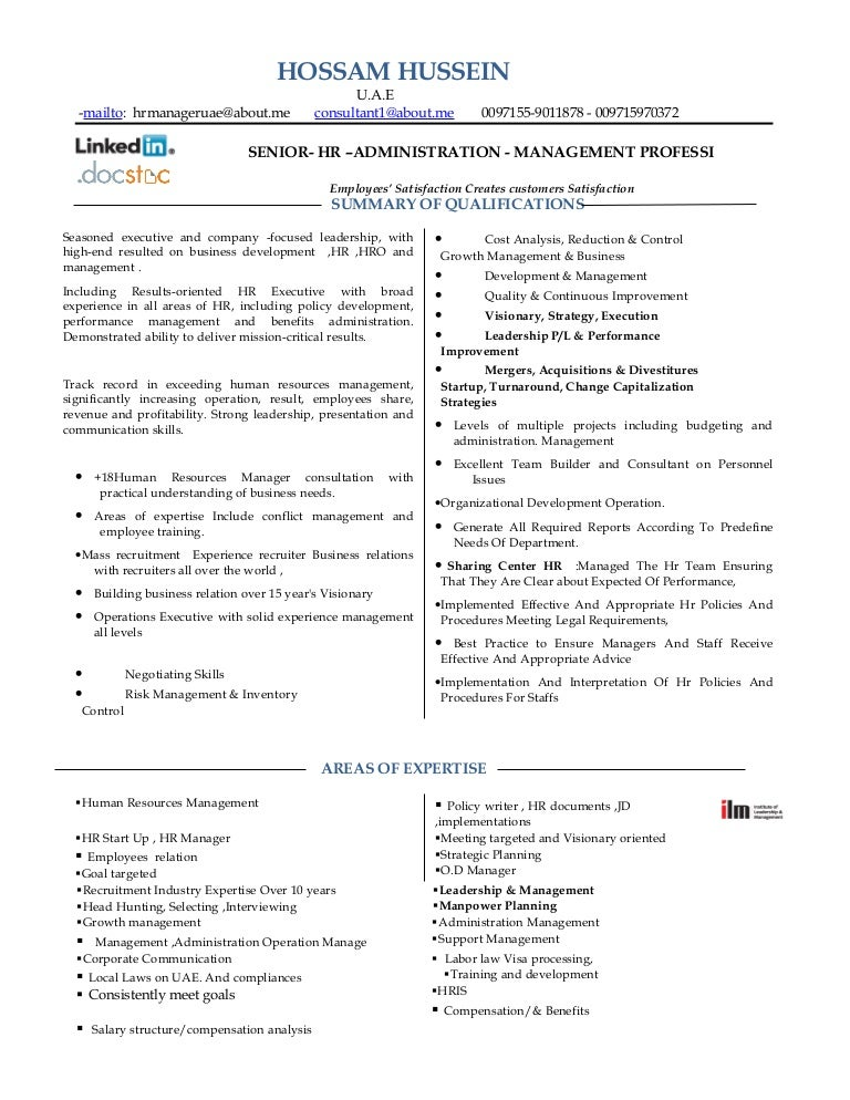 Resume hr manager consultant mba 18 years