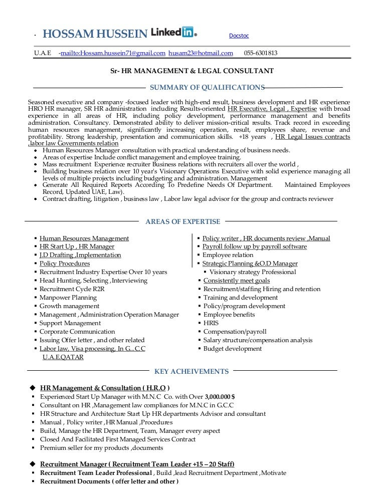 Resume hr manager legal admin consultant mba 18 years