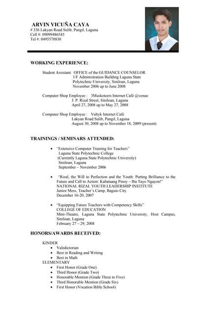 sample resume for licensed teachers