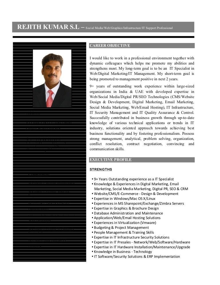Resume IT Specialist Web Social Media Specialist Digital