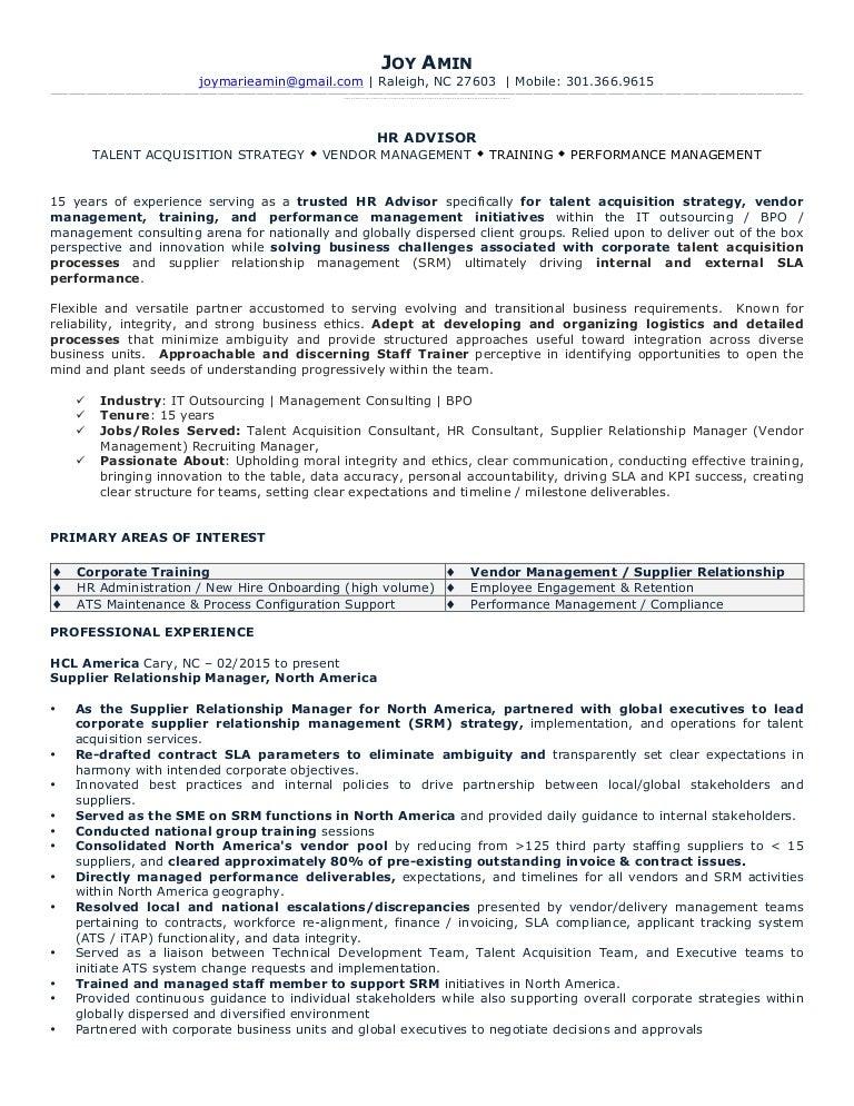 Resume joy amin 090215 – Recruiting Manager Resume