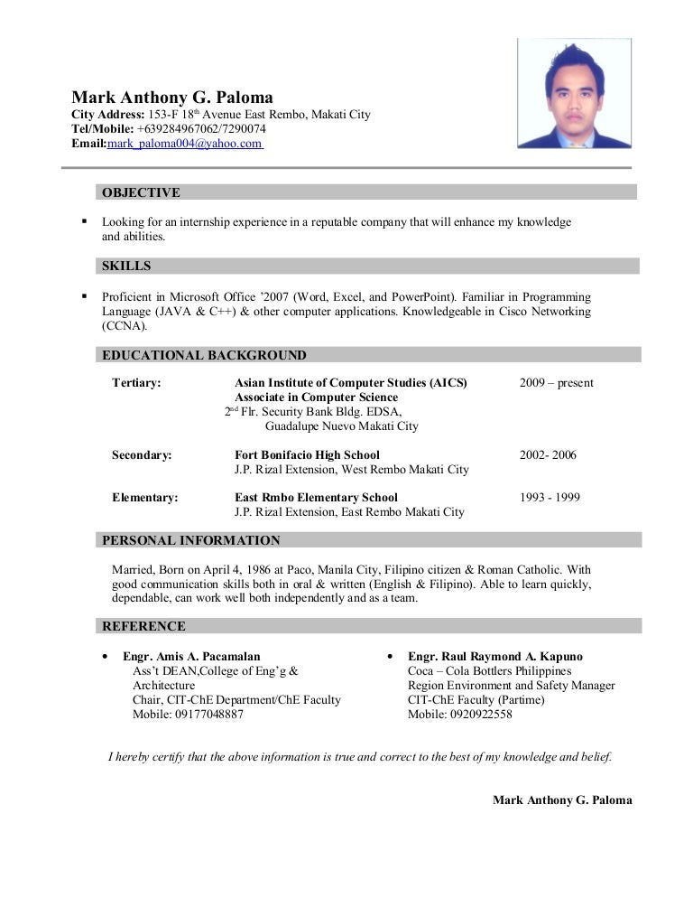 architecture student resumes
