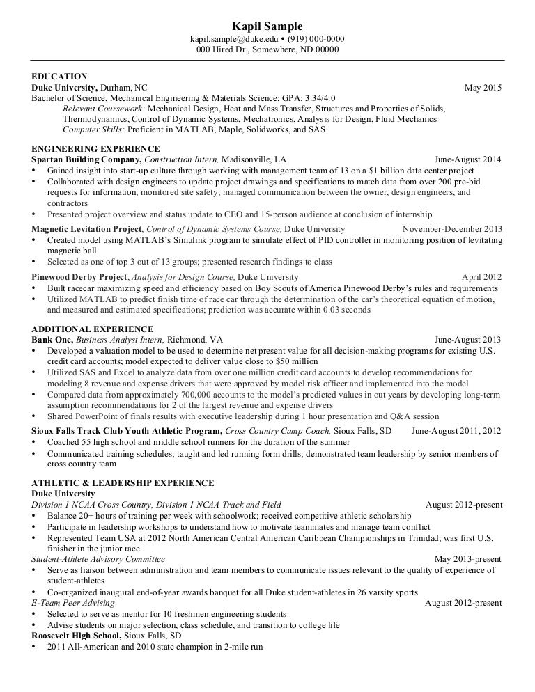 resume sample for mechanical engineers