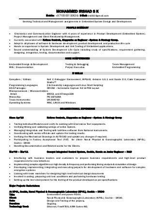 Entry level embedded engineer resume