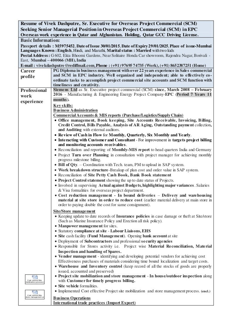 Resume Of Vivek Dashputre For Project Commercial Site Account And Scm
