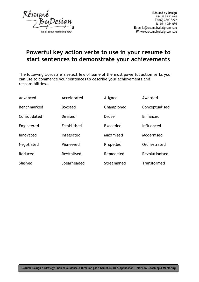 resume powerful key action verbs