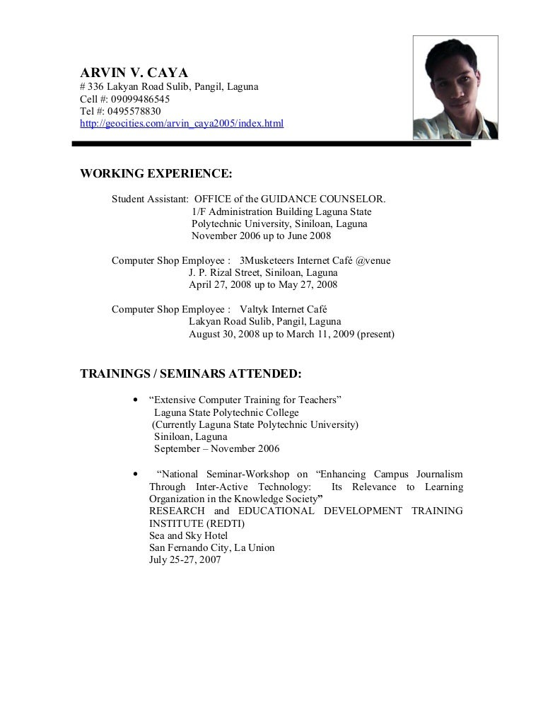 SlideShare  Educational Resume Format