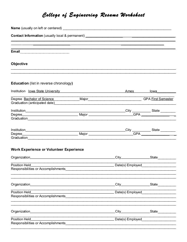 Resume worksheet – Resume Worksheets