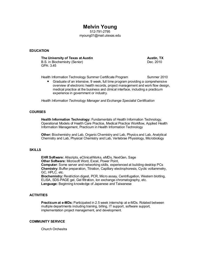 resume 07 27 10 - Health Information Management Resume