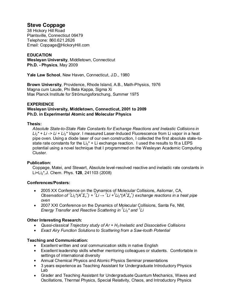 Steve Coppage Resume