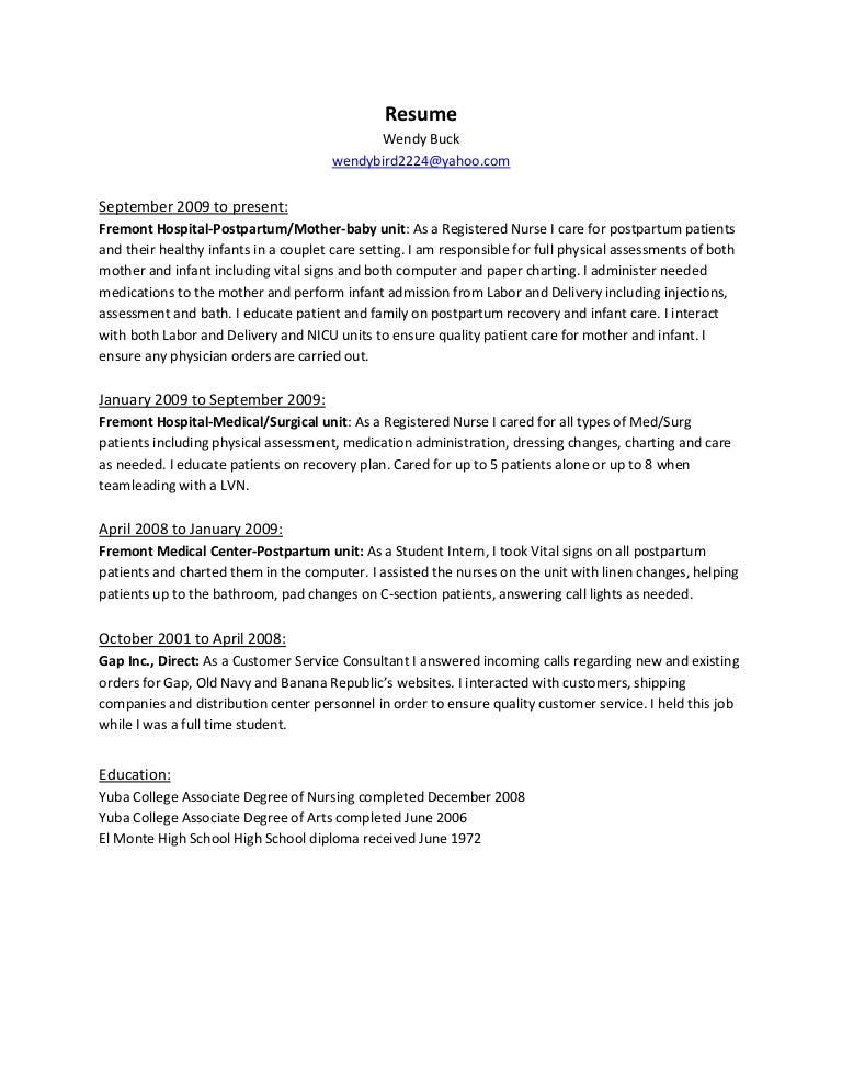 Postpartum Nurse Resume Objective Vosvetenet – Rn Resume Objective