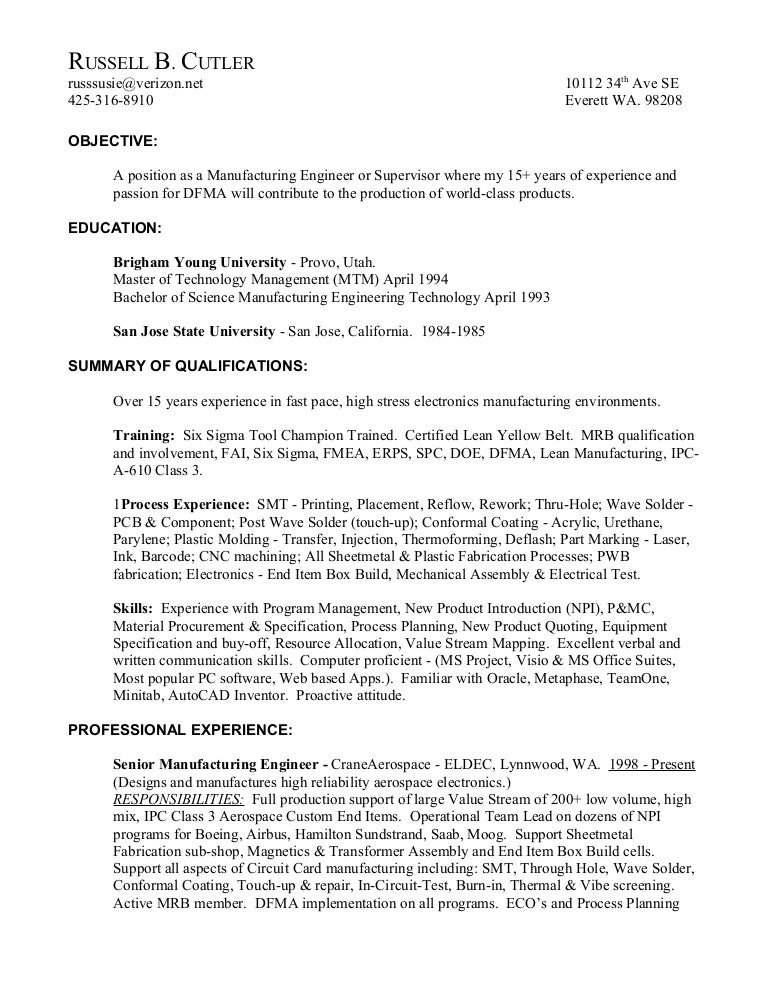 related post for fabrication manager resume - Electronic Assembler Resume Sample