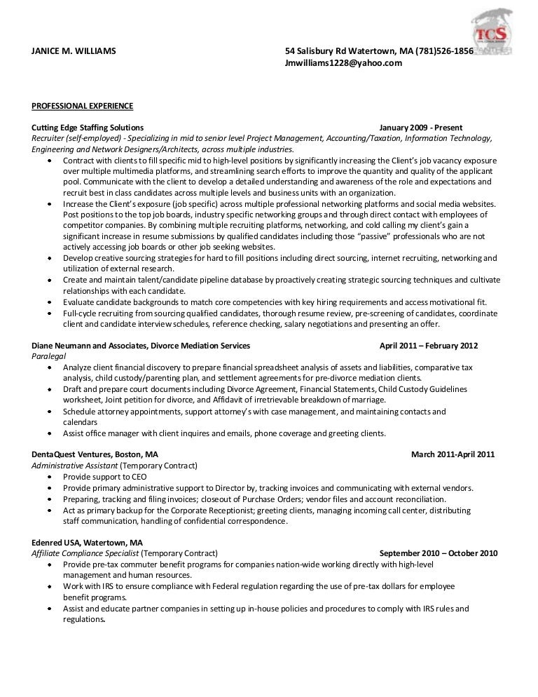 resume for consultant