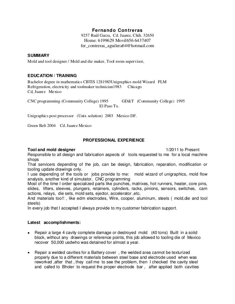 sample resume for a tool and die maker