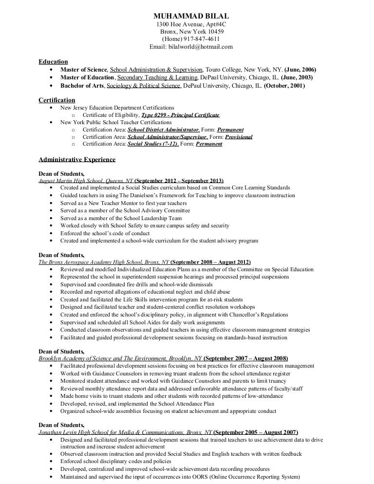 Urban Education Experience Resume