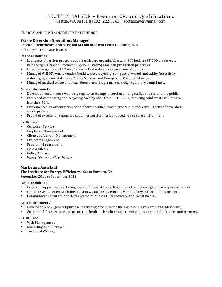 Resume - Scott P Salyer - Energy Efficiency, Waste and Sustainability…