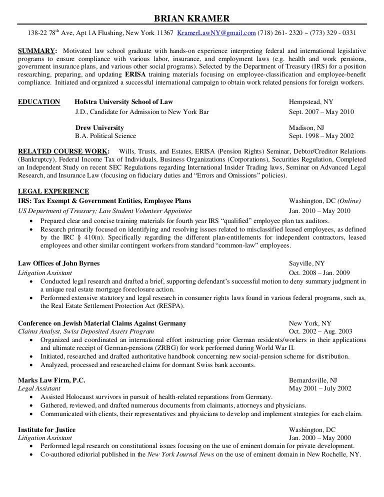 resume brian kramer - Tax Attorney Resume